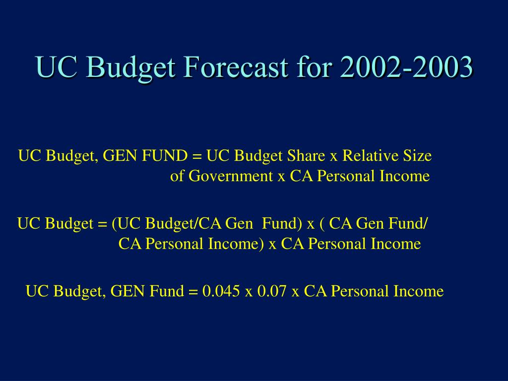 UC Budget Forecast for 2002-2003