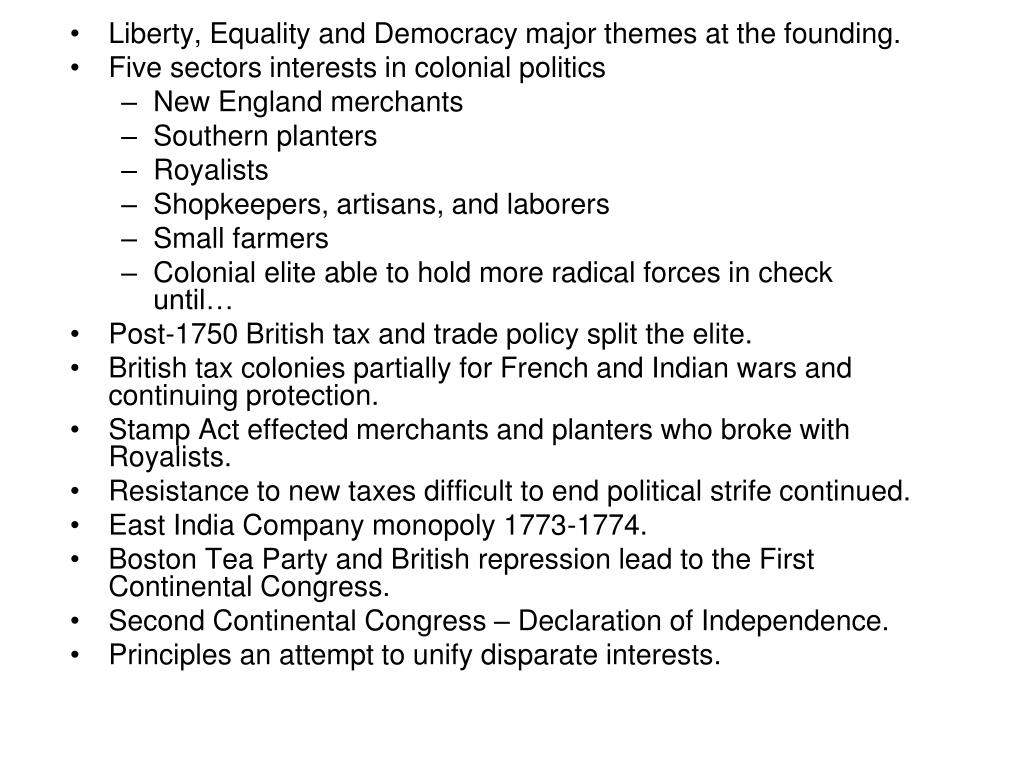 Liberty, Equality and Democracy major themes at the founding.