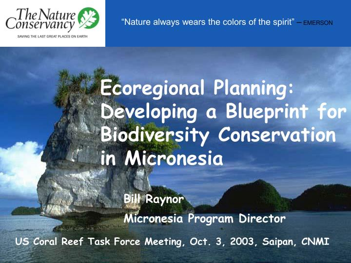 Ecoregional planning developing a blueprint for biodiversity conservation in micronesia
