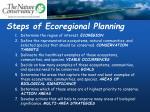 steps of ecoregional planning