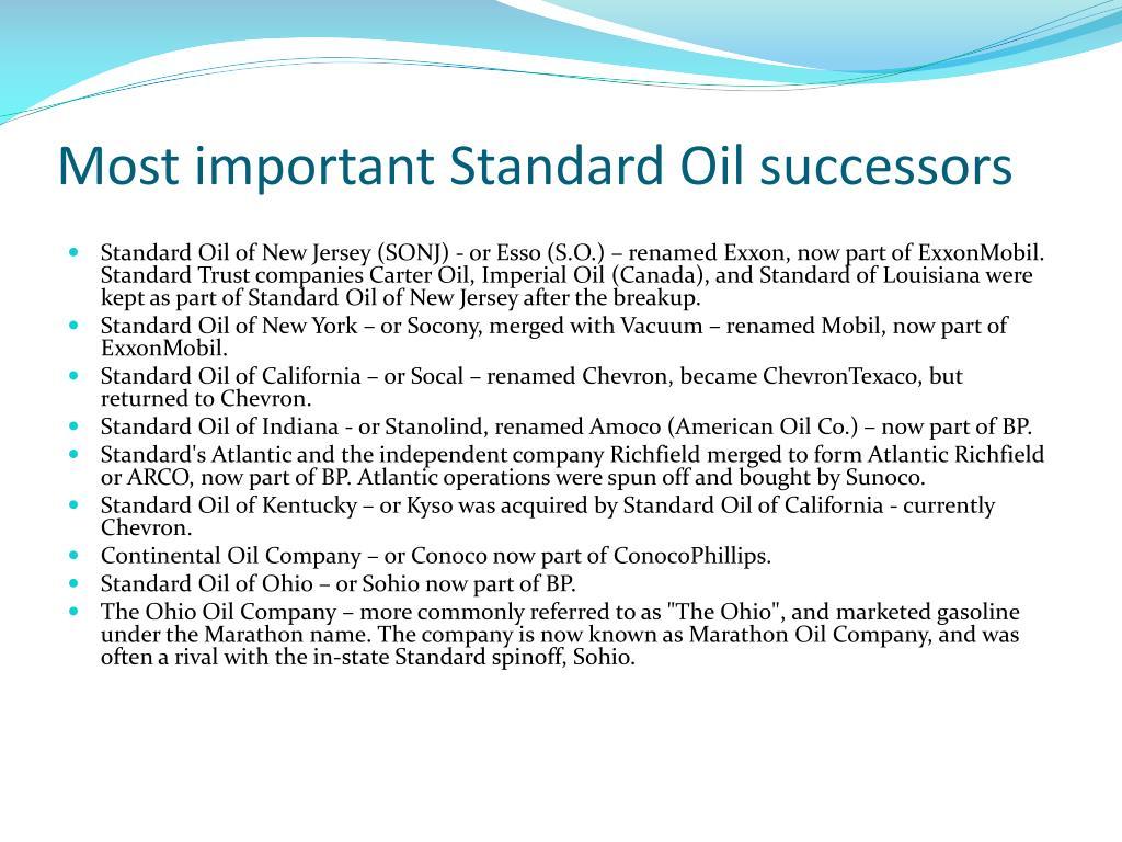 Most important Standard Oil successors