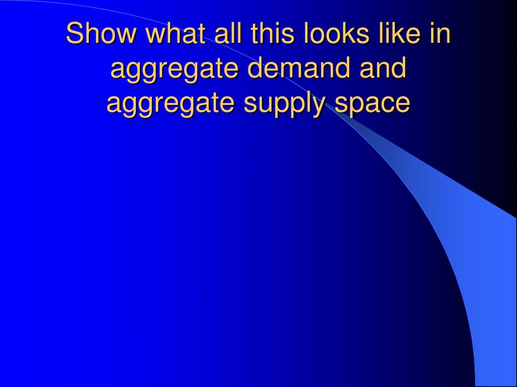 Show what all this looks like in aggregate demand and aggregate supply space