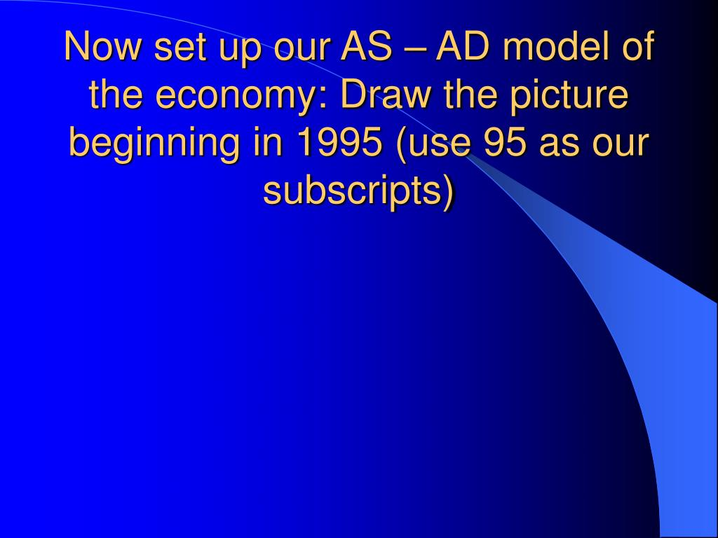 Now set up our AS – AD model of the economy: Draw the picture beginning in 1995 (use 95 as our subscripts)