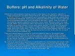 buffers ph and alkalinity of water