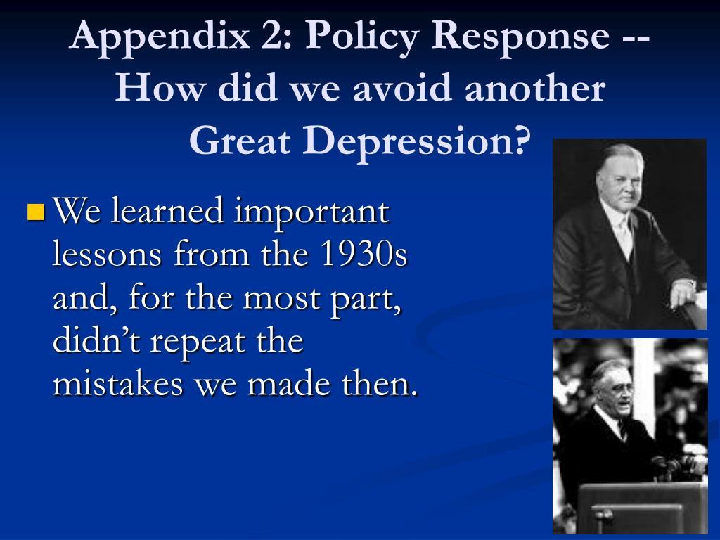 Appendix 2: Policy Response --