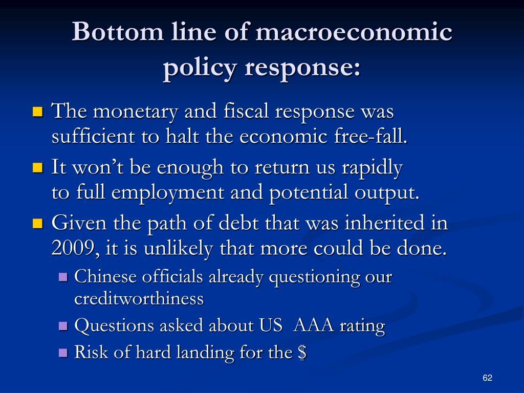 Bottom line of macroeconomic policy response: