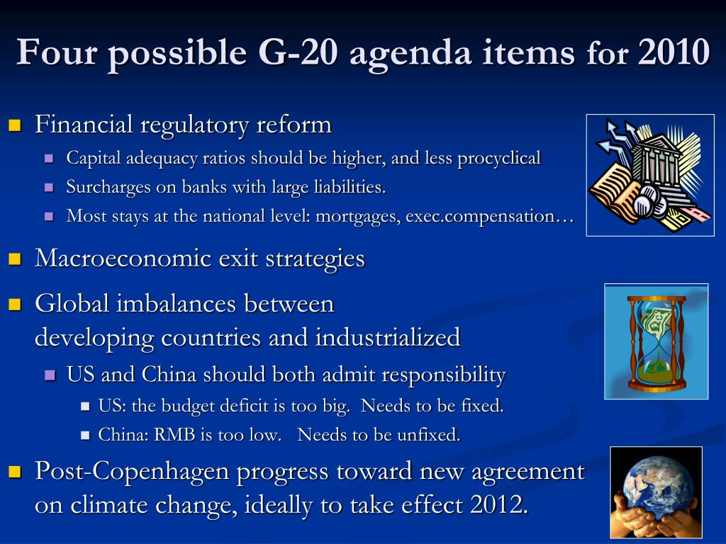 Four possible G-20 agenda items