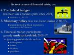 six root causes of financial crisis cont