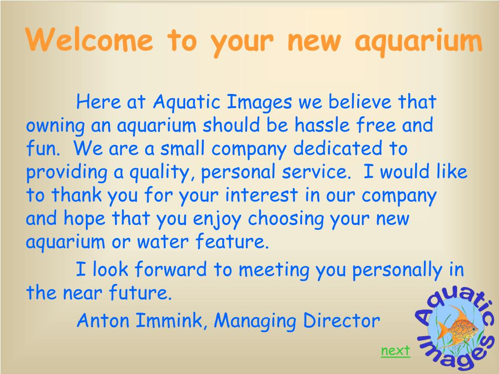 Welcome to your new aquarium