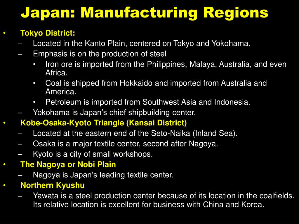 Japan: Manufacturing Regions