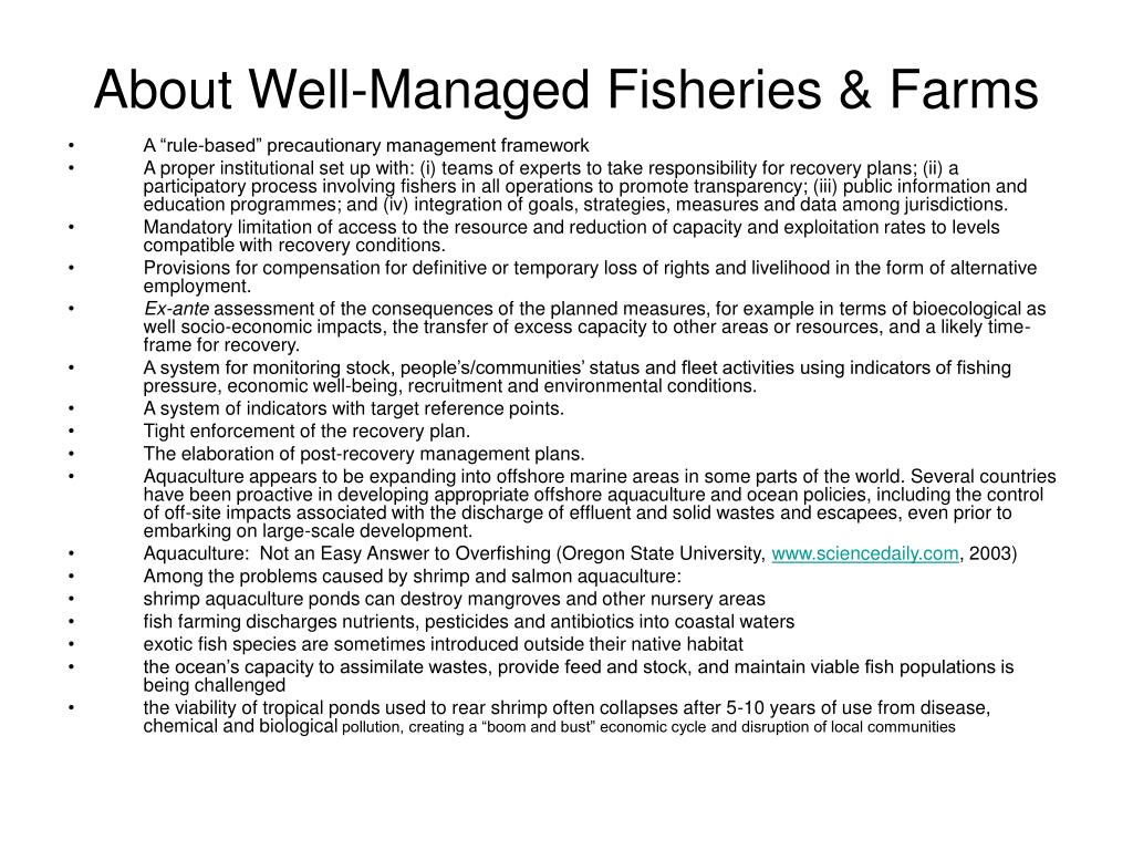 About Well-Managed Fisheries & Farms