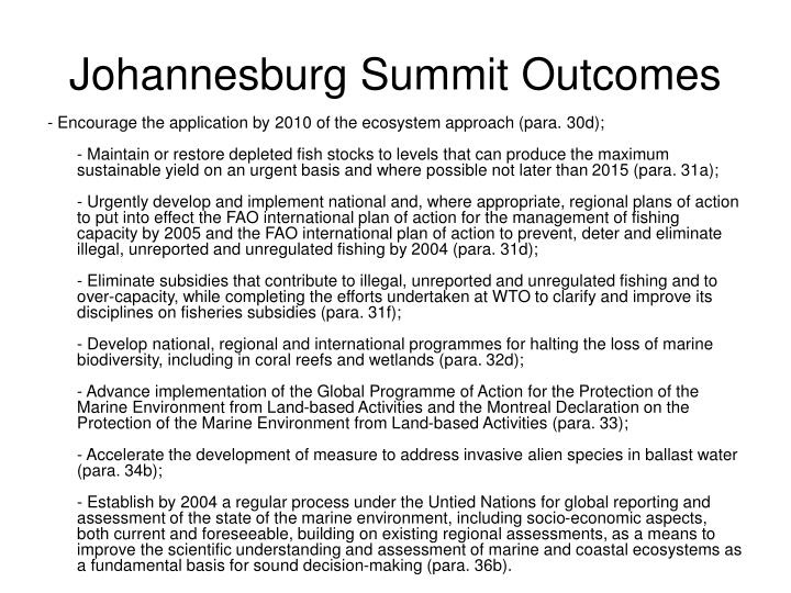Johannesburg summit outcomes