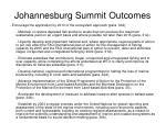 johannesburg summit outcomes