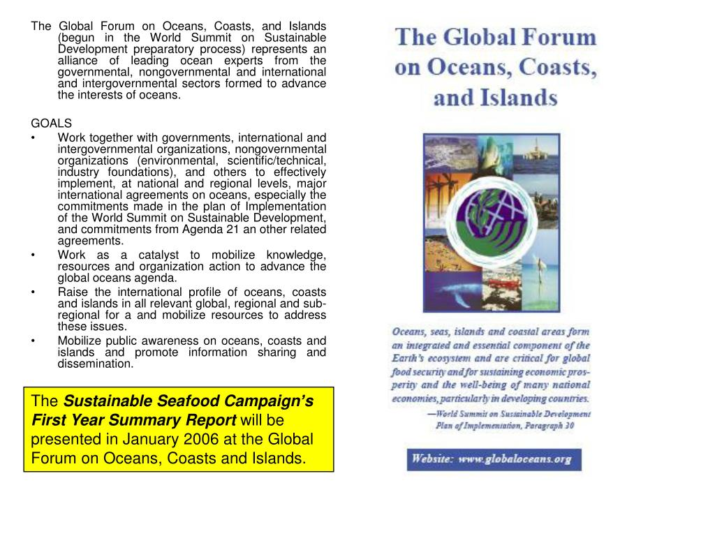 The Global Forum on Oceans, Coasts, and Islands (begun in the World Summit on Sustainable Development preparatory process) represents an alliance of leading ocean experts from the governmental, nongovernmental and international and intergovernmental sectors formed to advance the interests of oceans.
