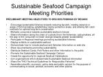 sustainable seafood campaign meeting priorities