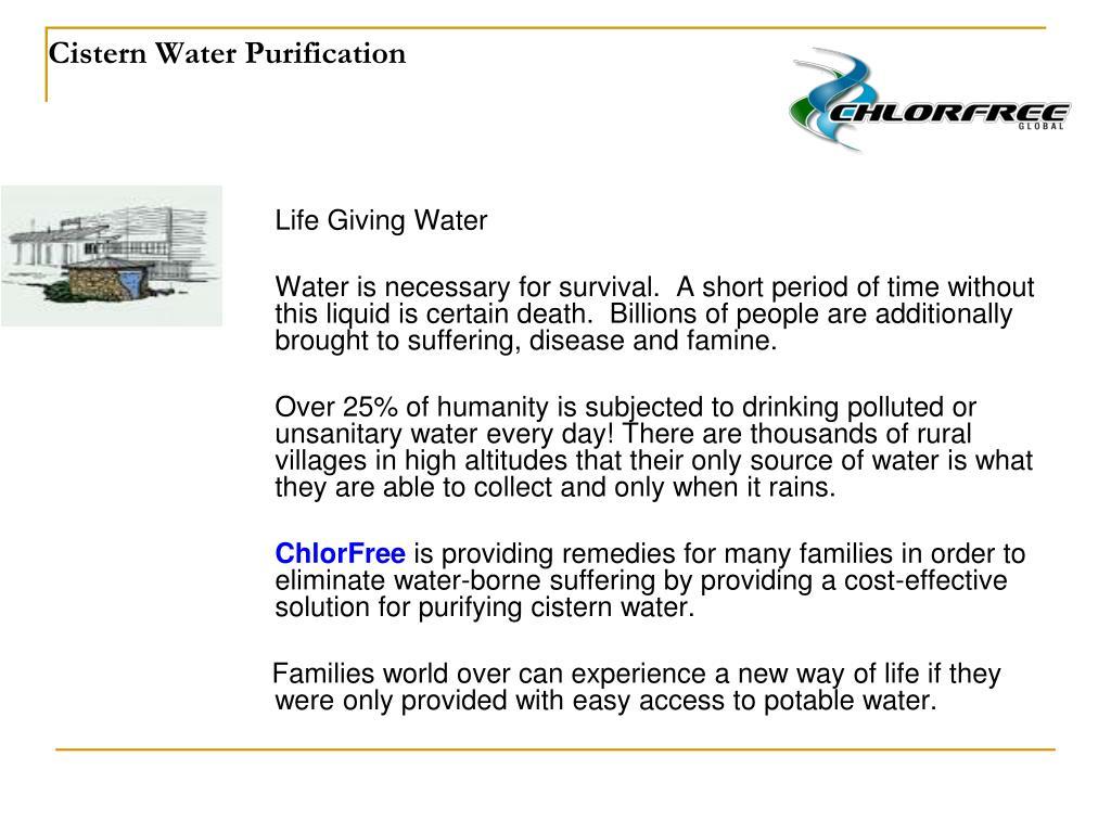 Cistern Water Purification