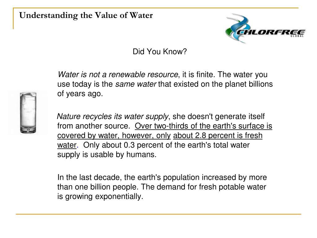 Understanding the Value of Water