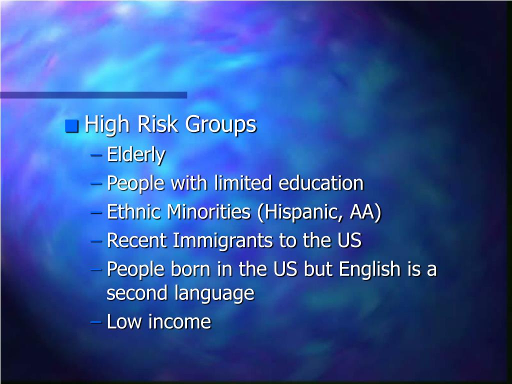 High Risk Groups