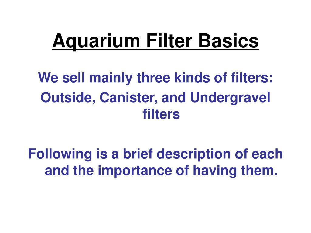 Aquarium Filter Basics
