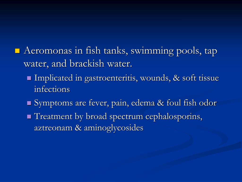 Aeromonas in fish tanks, swimming pools, tap water, and brackish water.