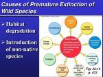causes of premature extinction of wild species