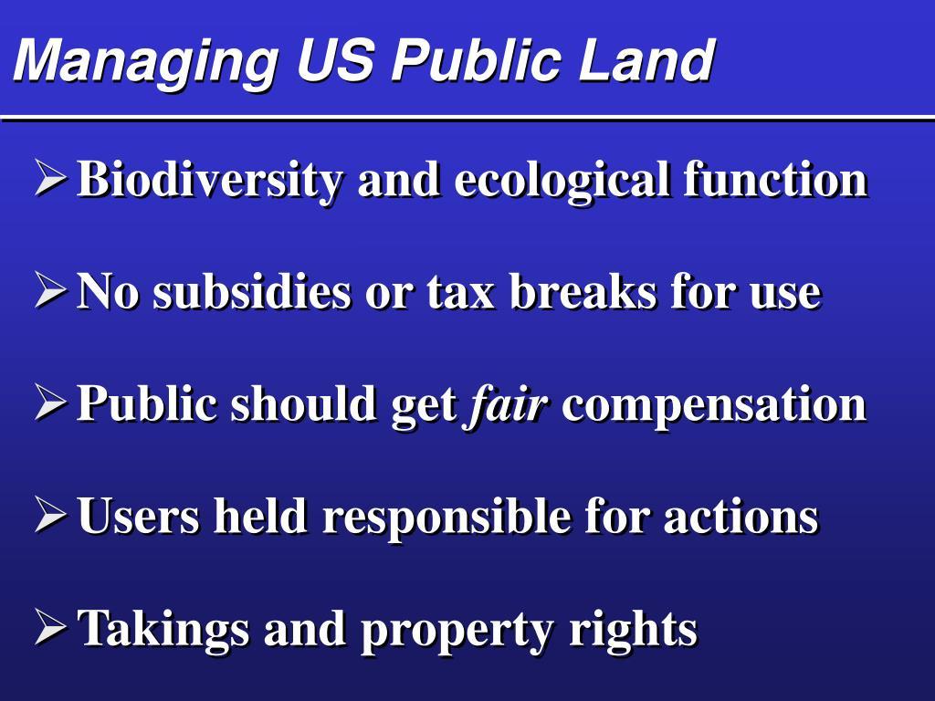 Managing US Public Land