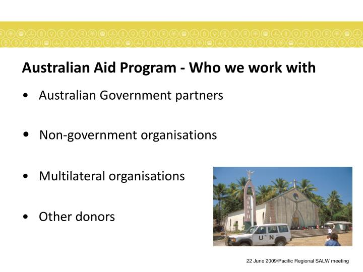 Australian aid program who we work with