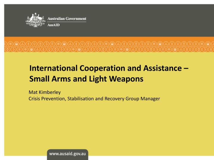 International cooperation and assistance small arms and light weapons