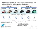 cabled trial part of uk technology strategy board 350 demonstrator of ultra low carbon vehicles