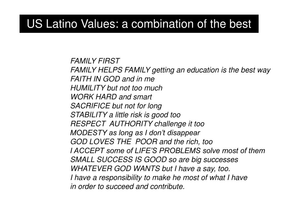 US Latino Values: a combination of the best