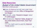 data resources budget of the united states government http www whitehouse gov