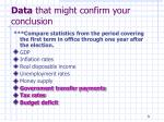 data that might confirm your conclusion