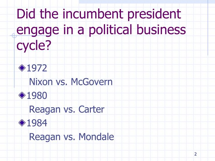 Did the incumbent president engage in a political business cycle