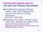 economic policy agenda resources pro and con primary documents