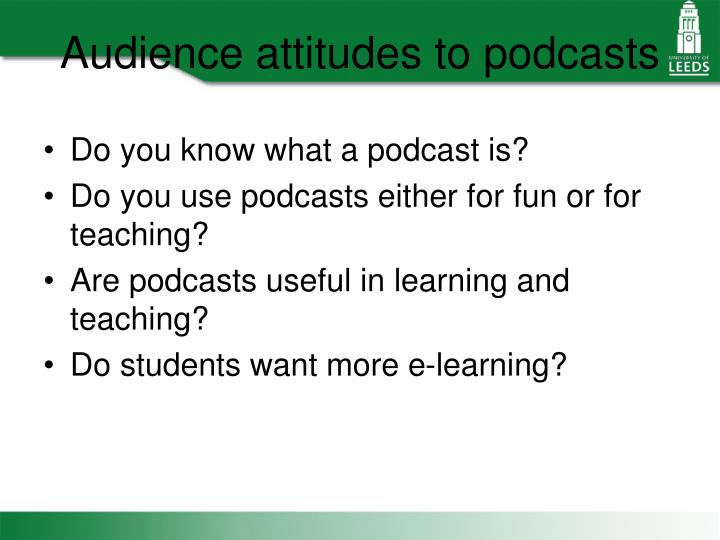 Audience attitudes to podcasts