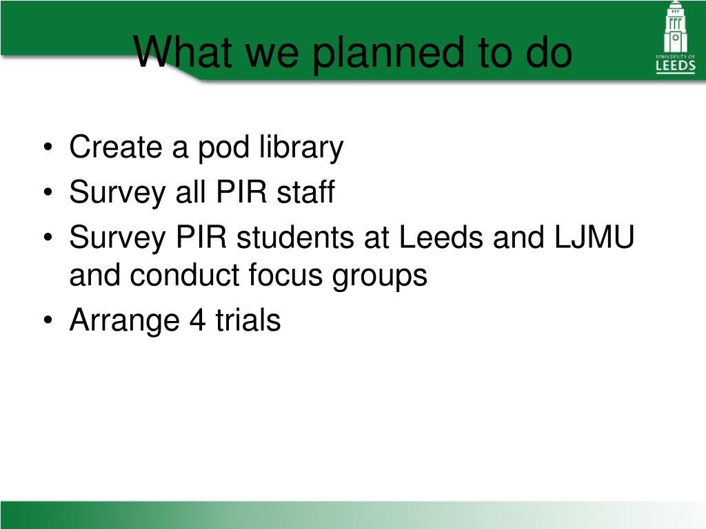 Create a pod library