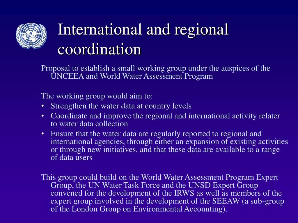 International and regional coordination