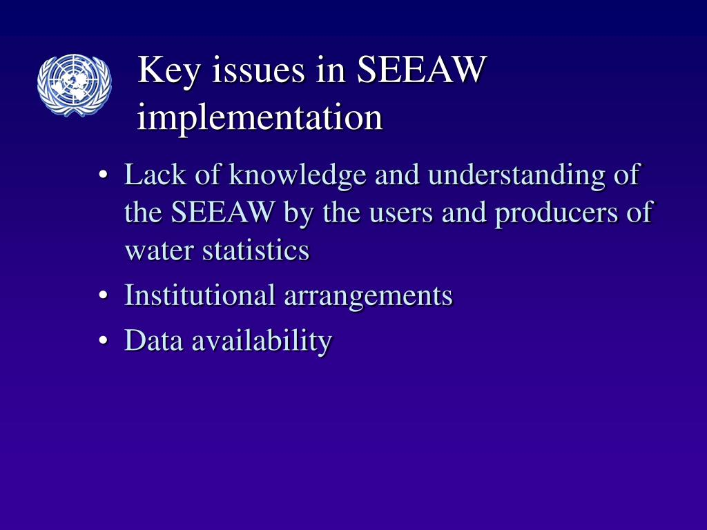 Key issues in SEEAW implementation