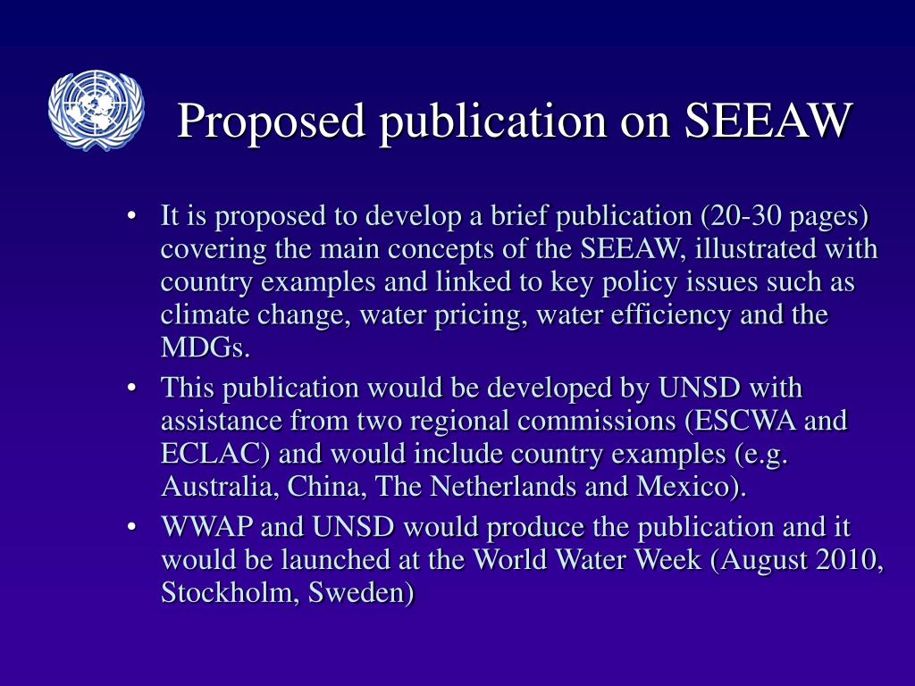 Proposed publication on SEEAW