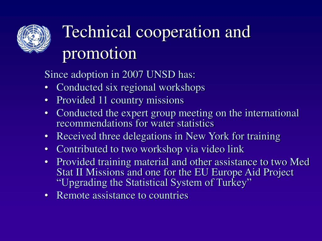 Technical cooperation and promotion
