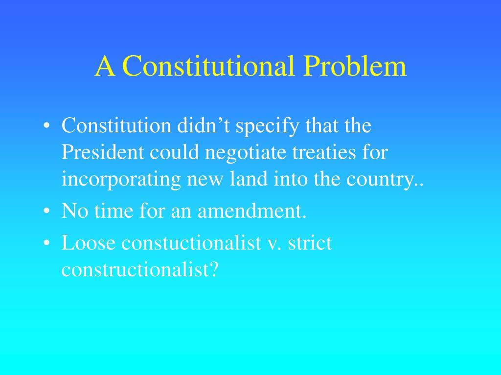 A Constitutional Problem