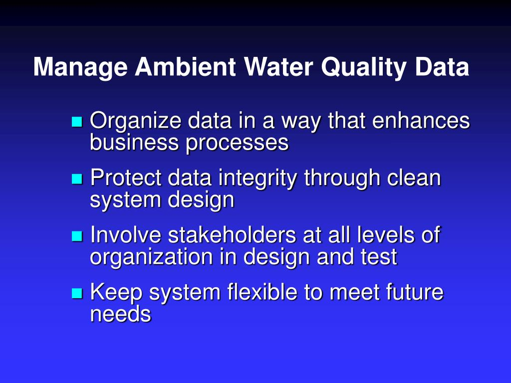 Manage Ambient Water Quality Data