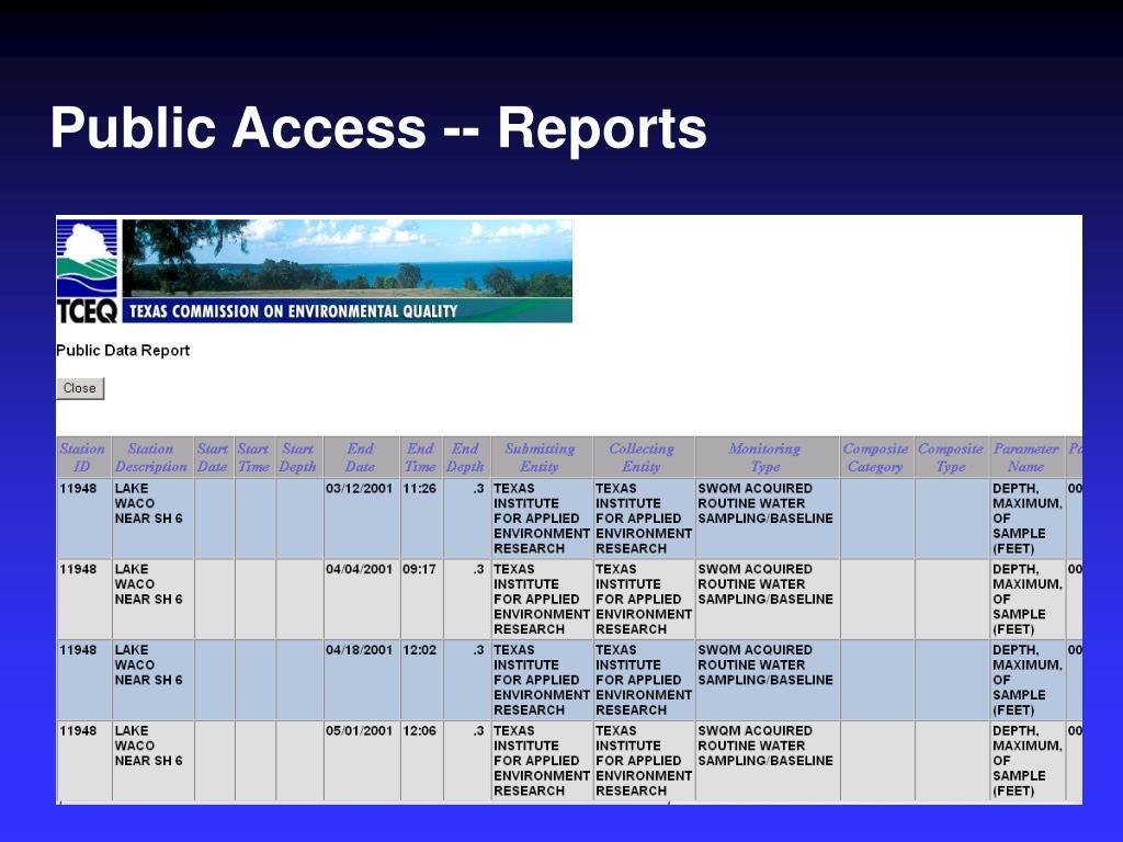 Public Access -- Reports