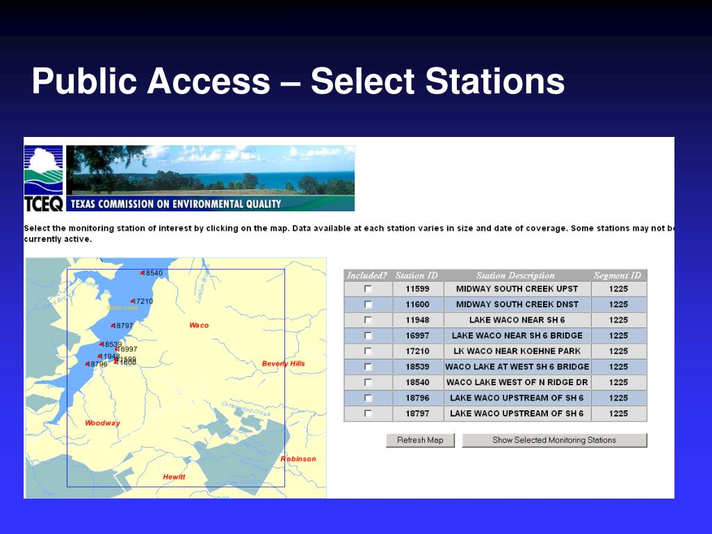 Public Access – Select Stations