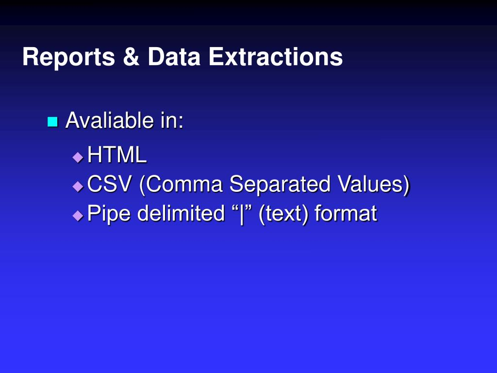 Reports & Data Extractions