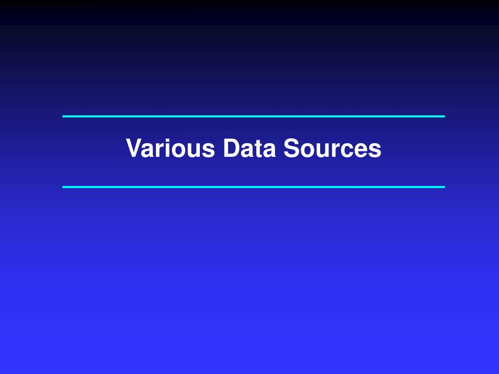 Various Data Sources