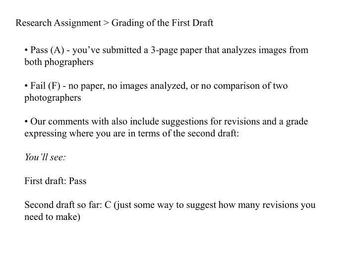 Research assignment grading of the first draft
