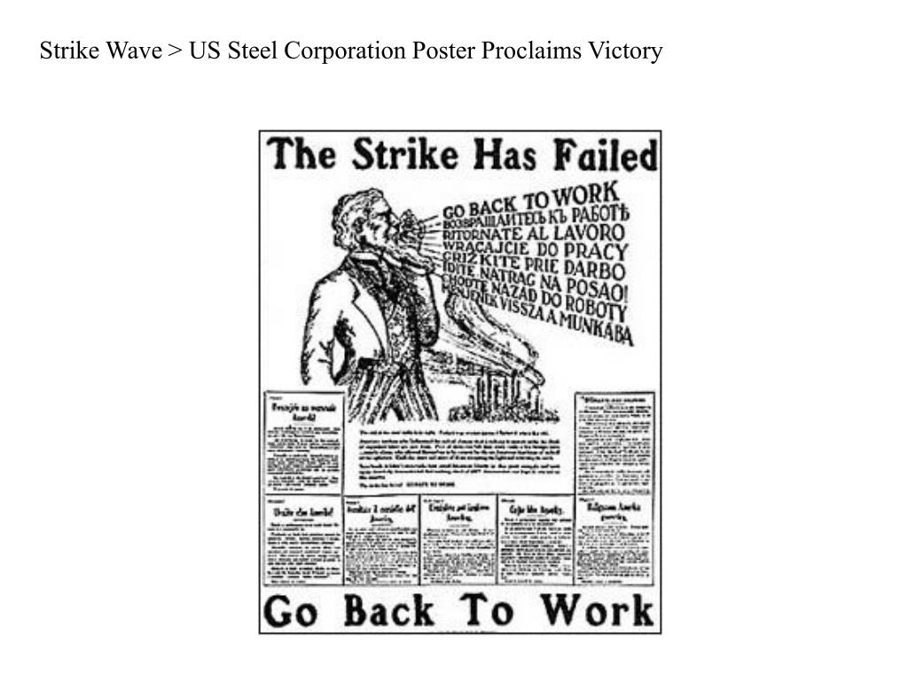 Strike Wave > US Steel Corporation Poster Proclaims Victory