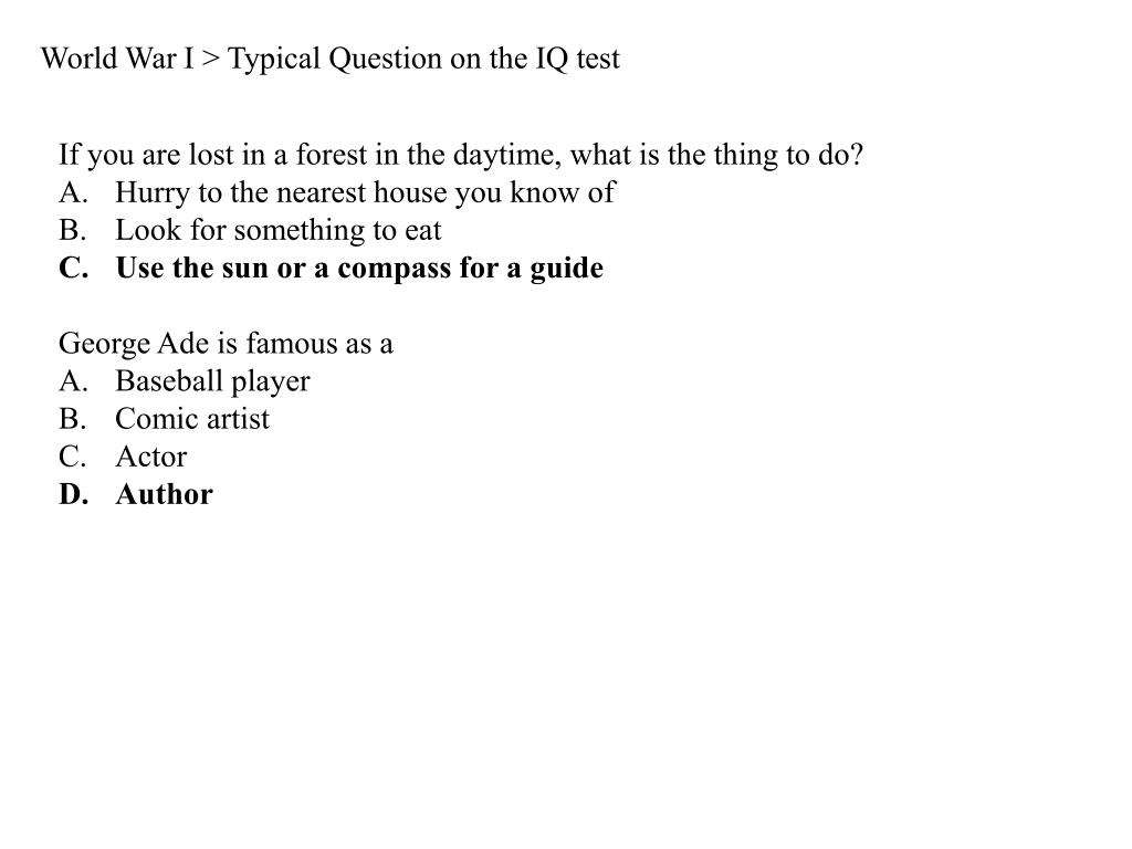 World War I > Typical Question on the IQ test