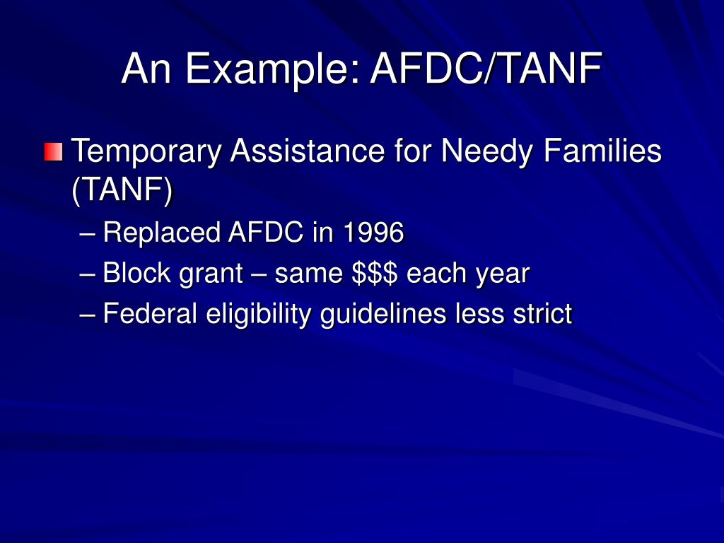 An Example: AFDC/TANF